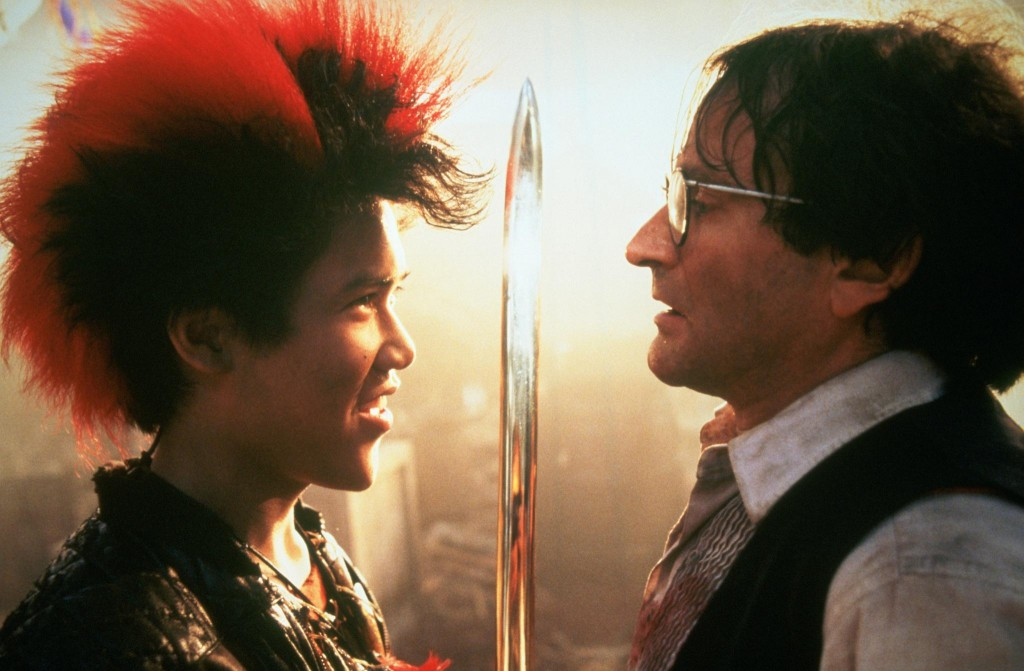 Dante Basco as Rufio and Robin Williams as Peter Banning.